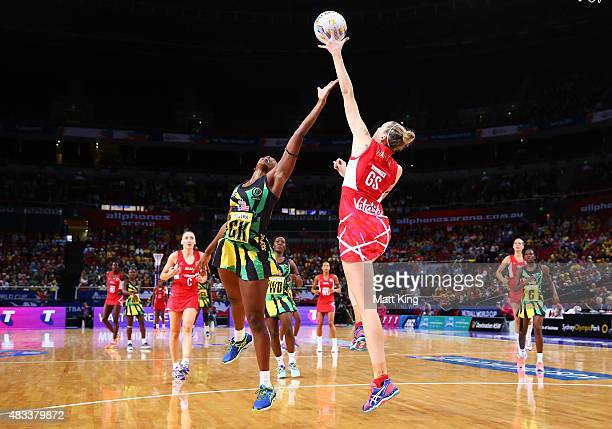 Joanne Harten of England is challenged by Stacian Facey of Jamaica during the 2015 Netball World Cup match between England and Jamaica at Allphones...