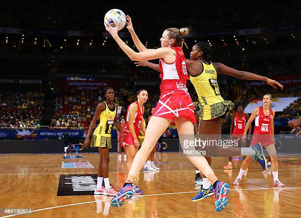 Joanne Harten of England is challenged by Stacian Facey of Jamaica during the 2015 Netball World Cup Bronze Medal match between England and Jamaica...