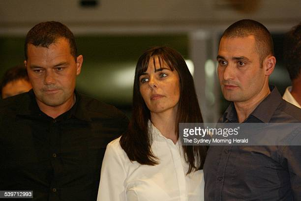 Joanne Lees stands on the steps of the Northern Territory Supreme Court with Nick left and Paul Falconio right after Bradley John Murdoch was found...