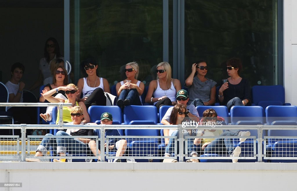 Joanne North (back row left), wife of Marcus North, Jessica Bratich (back row 2ndL), girlfriend of Mitchell Johnson and Tamsyn Lewis (in yellow), girlfriend of Graham Manou watch play during day five of the npower 1st Ashes Test Match between England and Australia at the SWALEC Stadium on July 12, 2009 in Cardiff, Wales.