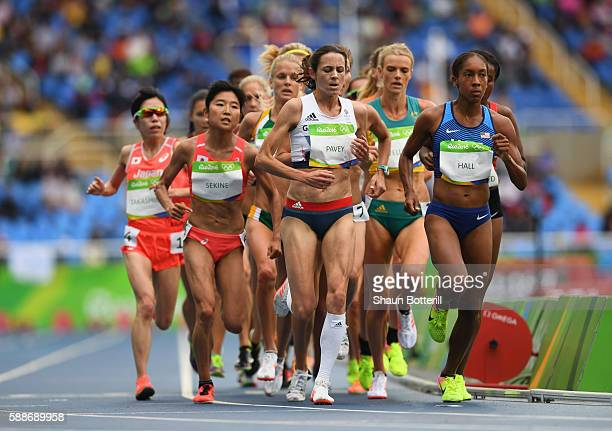Joanne Pavey of Great Britain and Emily Infeld of the United States compete in the Women's 10000 metres final on Day 7 of the Rio 2016 Olympic Games...