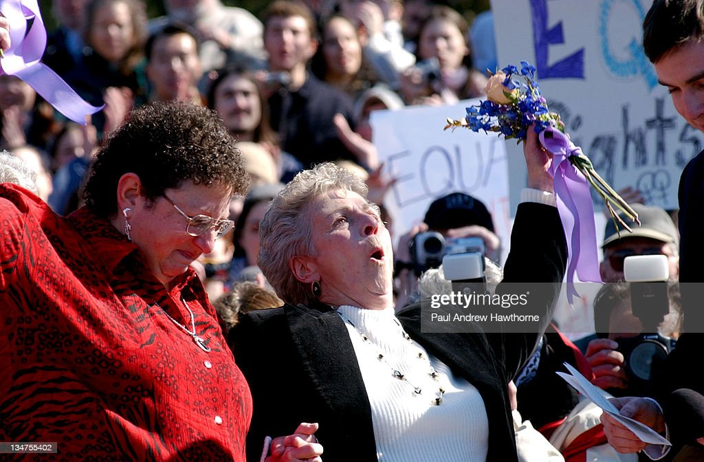 Joanne Still and her spouse Mary Mendola of Accord New York celebrate after they were wed in a Solemnizing ceremony at the New Paltz Village Hall...