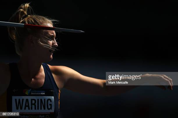 Joanne Waring of NSW competes in the womens open heptathlon javelin during day six of the Australian Athletics Championships at Sydney Olympic Park...