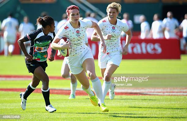 Joanne Watmore of England in action against Fiji during the IRB Women's Sevens Rugby World Series at the Emirates Dubai Rugby Sevens at on December 4...
