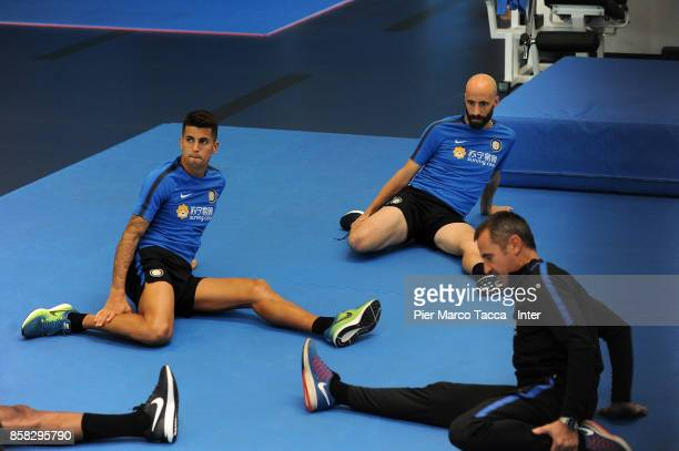 Joao Cancelo and Borja Valero of FC Internazionale in action during a FC Internazionale Training Session at Appiano Gentile on October 6 2017 in Como...