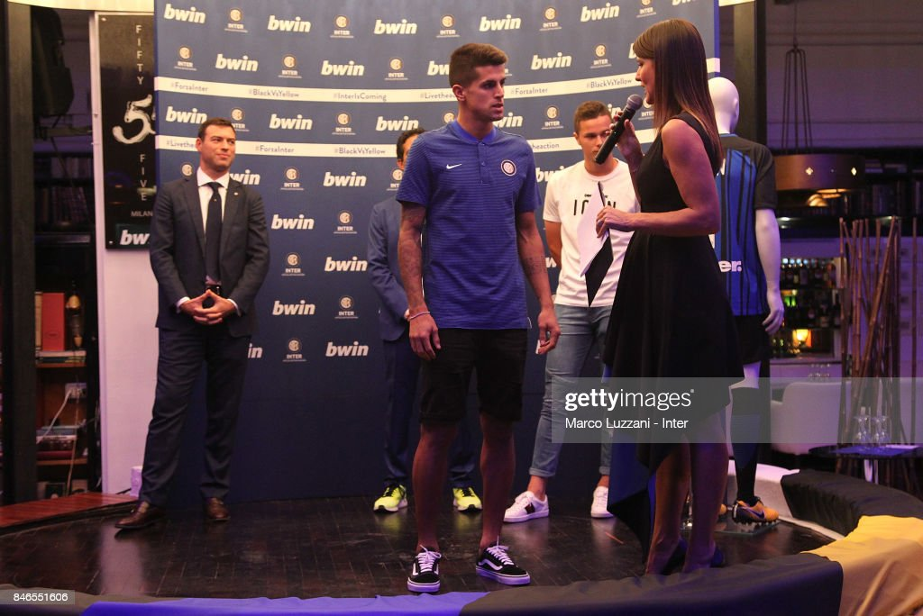 Joao Cancelo of FC Internazionale and Barbara Pedrotti attend BWin event on September 13, 2017 in Milan, Italy.