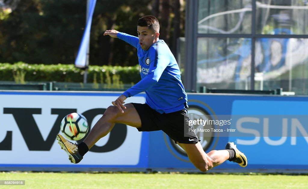 Joao Cancelo of FC Internazionale in action during a FC Internazionale Training Session at Appiano Gentile on October 6, 2017 in Como, Italy.