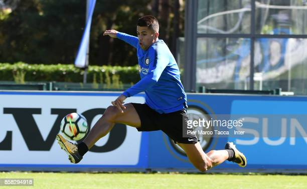 Joao Cancelo of FC Internazionale in action during a FC Internazionale Training Session at Appiano Gentile on October 6 2017 in Como Italy