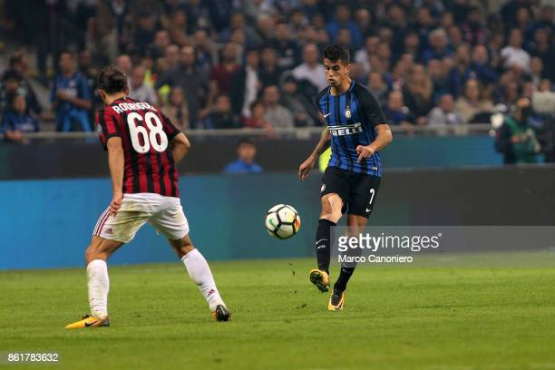 Joao Cancelo of FC Internazionale in action during the Serie A match between FC Internazionale and AC Milan Fc Internazionale wins 32 over Ac Milan