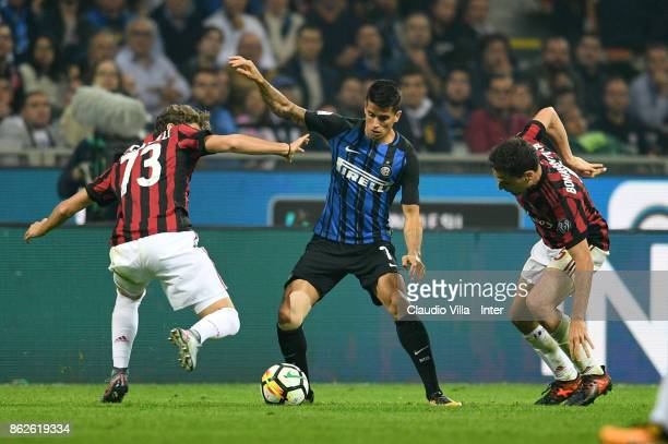 Joao Cancelo of FC Internazionale in action during the Serie A match between FC Internazionale and AC Milan at Stadio Giuseppe Meazza on October 15...