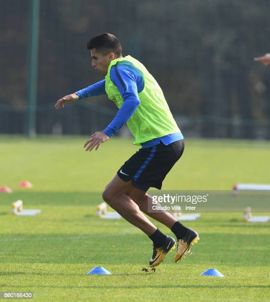 Joao Cancelo of FC Internazionale in action during the training session at Suning Training Center at Appiano Gentile on October 11 2017 in Como Italy