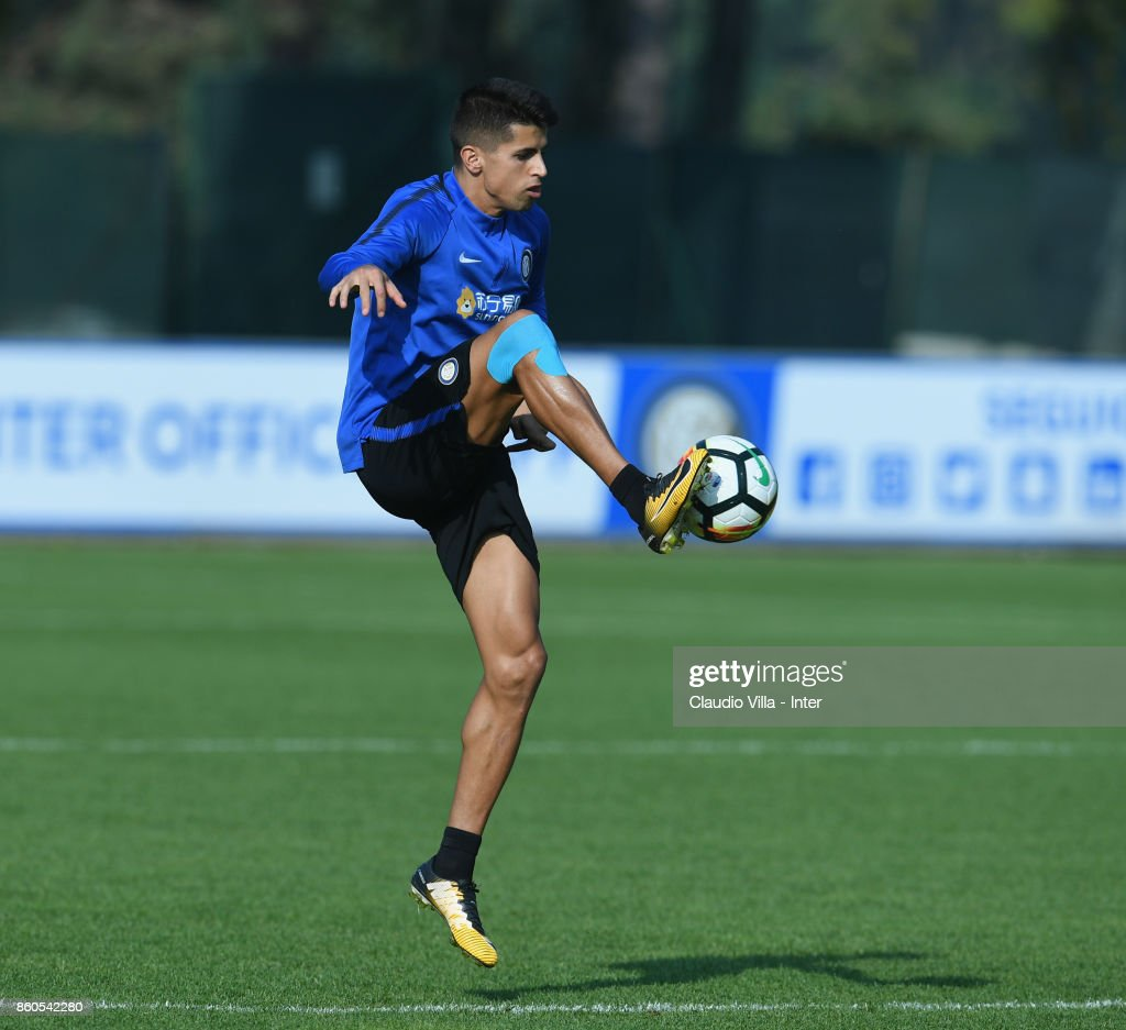 Joao Cancelo of FC Internazionale in action during the training session at Suning Training Center at Appiano Gentile on October 12, 2017 in Como, Italy.