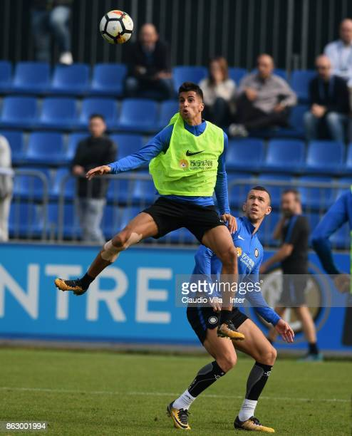 Joao Cancelo of FC Internazionale in action during the training session at Suning Training Center at Appiano Gentile on October 19 2017 in Como Italy
