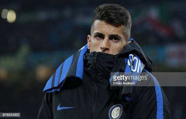 Joao Cancelo of FC Internazionale Milano looks on before the Serie A match between FC Internazionale and Atalanta BC at Stadio Giuseppe Meazza on...