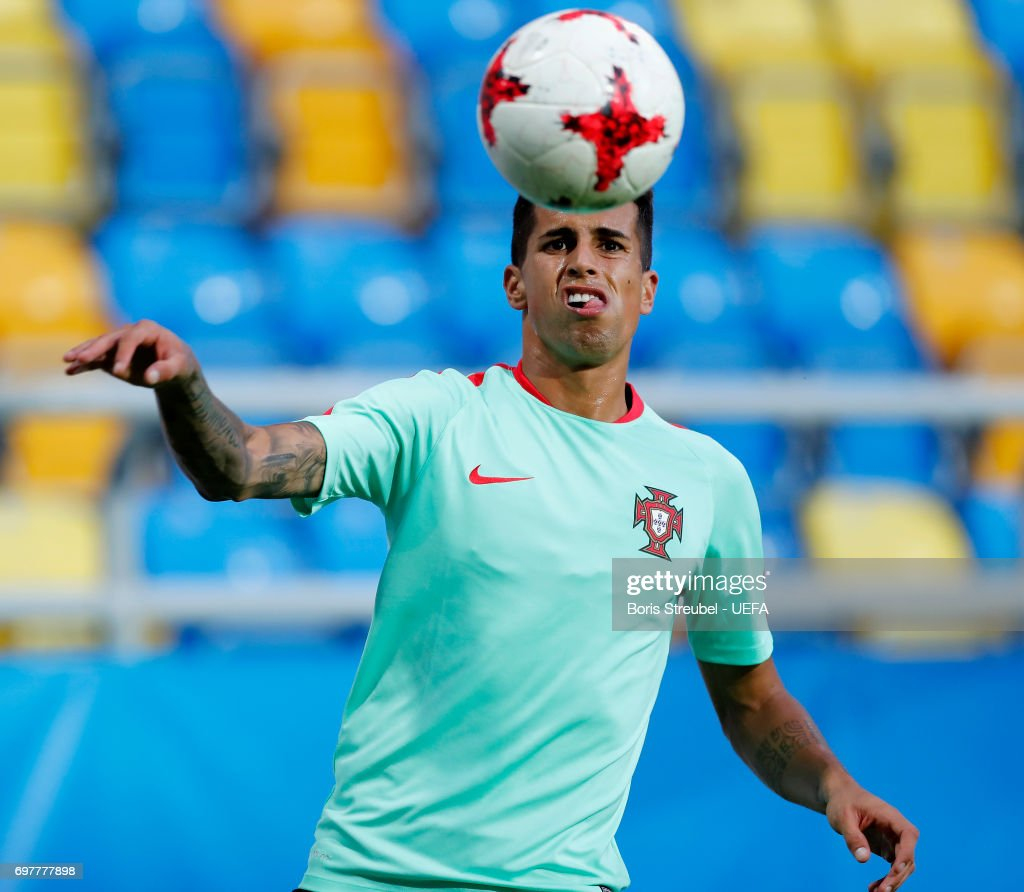 Joao Cancelo of Portugal controls the ball during the MD-1 training session of the U21 national team of Portugal at Gdynia Sports Arena on June 19, 2017 in Gdynia, Poland.
