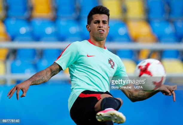 Joao Cancelo of Portugal controls the ball during the MD1 training session of the U21 national team of Portugal at Gdynia Sports Arena on June 19...