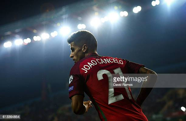 Joao Cancelo of Portugal looks on during the FIFA 2018 World Cup Qualifier between Portugal and Andorra at Estadio Municipal de Aveiro on October 7...