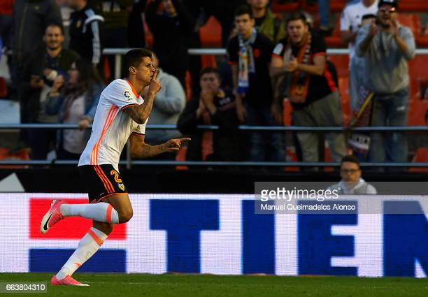 Joao Cancelo of Valencia celebrates scoring his team's third goal during the La Liga match between Valencia CF and Deportivo de La Coruna at Mestalla...