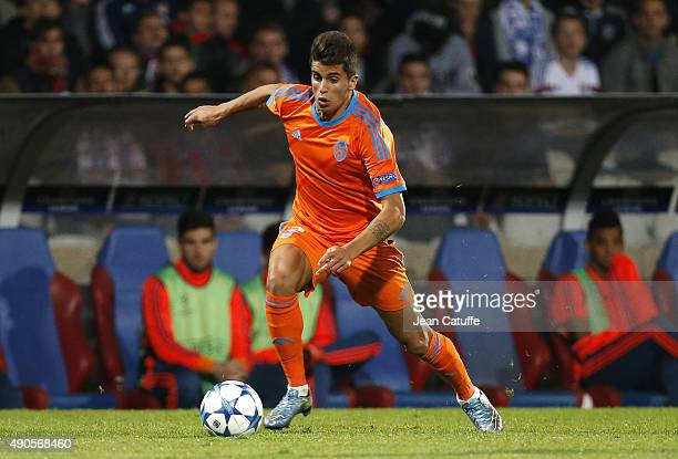 Joao Cancelo of Valencia CF in action during the UEFA Champions league match between Olympique Lyonnais and Valencia CF at Stade de Gerland on...