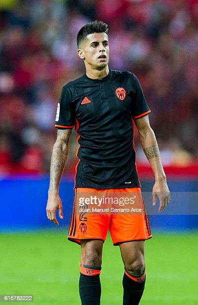 Joao Cancelo of Valencia CF reacts during the La Liga match between Real Sporting de Gijon and Valencia CF at Estadio El Molinon on October 16 2016...