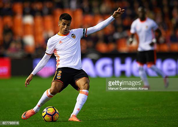 Joao Cancelo of Valencia in action during the La Liga match between Valencia CF and Malaga CF at Mestalla Stadium on December 04 2016 in Valencia...