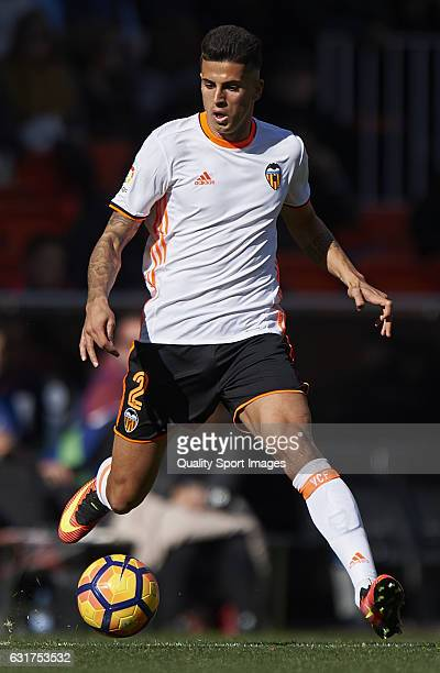 Joao Cancelo of Valencia in action during the La Liga match between Valencia CF and RCD Espanyol at Mestalla Stadium on January 15 2017 in Valencia...