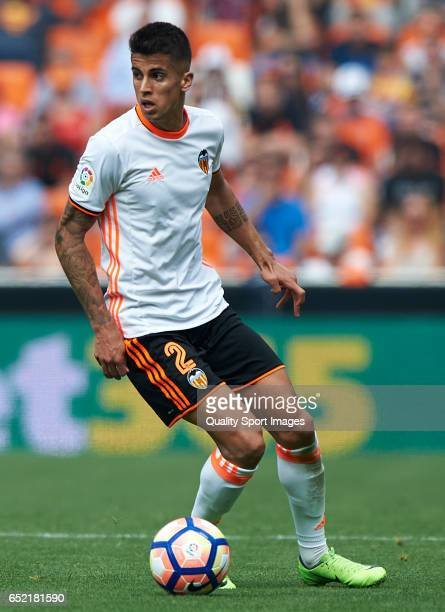 Joao Cancelo of Valencia in action during the La Liga match between Valencia CF and Real Sporting de Gijon at Mestalla Stadium on March 11 2017 in...