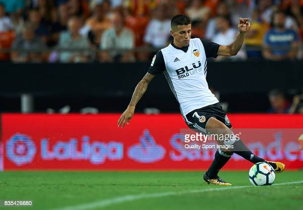 Joao Cancelo of Valencia in action during the La Liga match between Valencia and Las Palmas at Estadio Mestalla on August 18 2017 in Valencia
