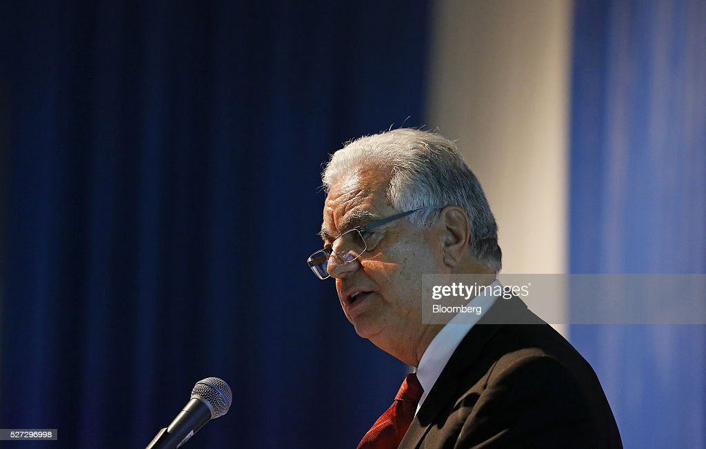 Joao Carlos de Luca, president of IBP, speaks during the 2016 Offshore Technology Conference (OTC) in Houston, Texas, U.S., on Monday, May 2, 2016. The OTC gathers energy professionals to exchange ideas and opinions to advance scientific and technical knowledge for offshore resources. Photographer: Aaron M. Sprecher/Bloomberg via Getty Images