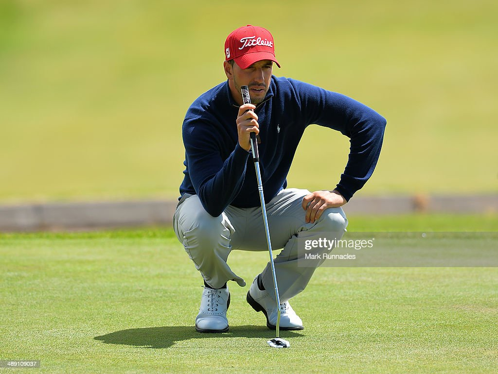 Joao Carlota of Portugal looks at the line of his putt on the 6th green during the Madeira Islands Open - Portugal - BPI at Club de Golf do Santo da Serra on May 10, 2014 in Funchal, Madeira, Port gal.