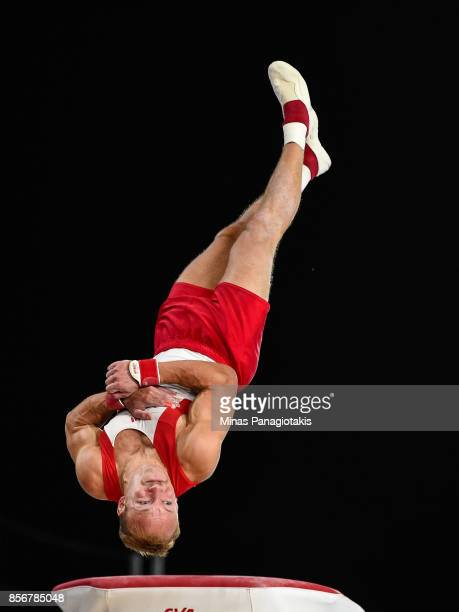 Joao Fuglsig of Denmark competes on the vault during day one of the Artistic Gymnastics World Championships on October 2 2017 at Olympic Stadium in...