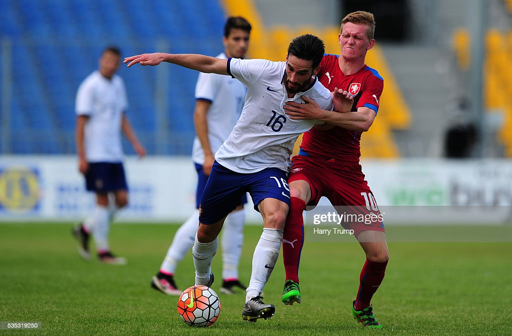 Joao Gamboa of Portugal is tackled by Petr Kodes of Czech Republic during the Toulon Tournament 3rd/4th Playoff match between Portugal and Czech Republic at Parc Des Sports on May 29, 2016 in Avignon, France.