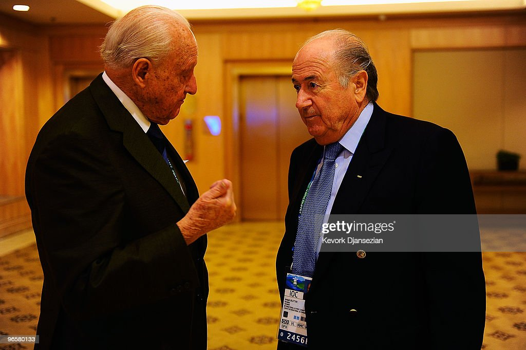 <a gi-track='captionPersonalityLinkClicked' href=/galleries/search?phrase=Joao+Havelange&family=editorial&specificpeople=552184 ng-click='$event.stopPropagation()'>Joao Havelange</a> the former FIFA President and current FIFA president, <a gi-track='captionPersonalityLinkClicked' href=/galleries/search?phrase=Sepp+Blatter&family=editorial&specificpeople=209372 ng-click='$event.stopPropagation()'>Sepp Blatter</a> attend an IOC press conference ahead of the Vancouver 2010 Winter Olympics on February 11, 2010 in Vancouver, Canada.