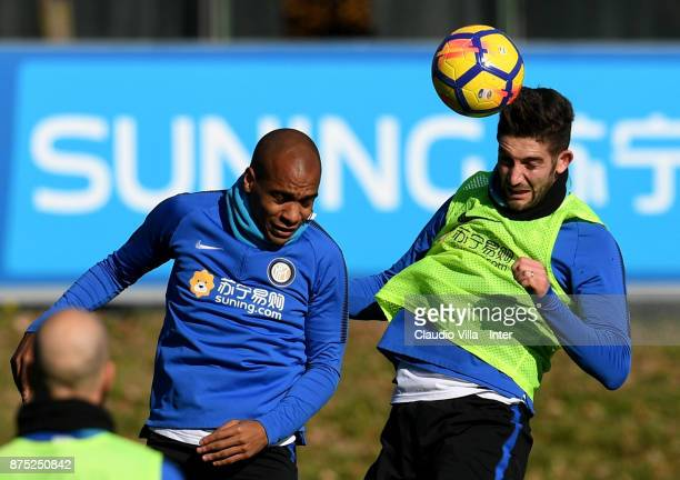 Joao Mario and Roberto Gagliardini of FC Internazionale compete for the ball during the FC Internazionale training session at Suning Training Center...