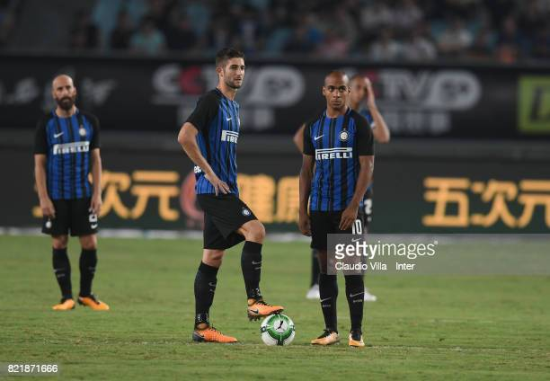 Joao Mario and Roberto Gagliardini of FC Internazionale look on prior to the 2017 International Champions Cup match between FC Internazionale and...