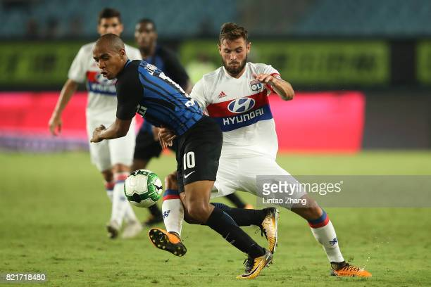 Joao Mario Eduardo of FC Internationale competes for the ball with Lucas Tousart of Olympique Lyonnais during the 2017 International Champions Cup...