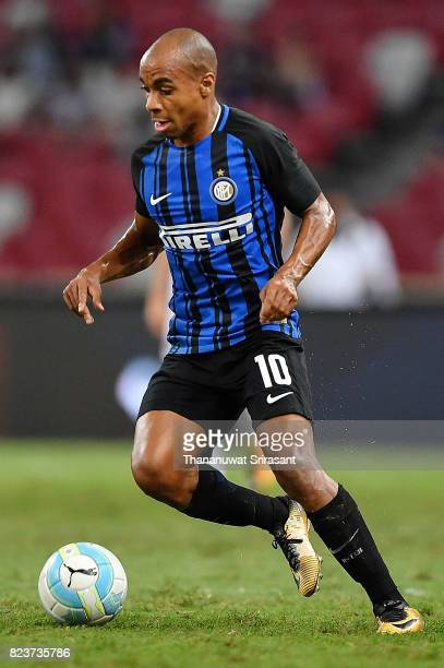 Joao Mario of FC Interernazionale runs with the ball during the International Champions Cup match between FC Bayern Munich and FC Internazionale at...