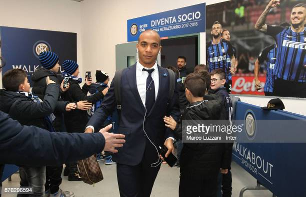 Joao Mario of FC Internazionale arrives prior to the Serie A match between FC Internazionale and Atalanta BC at Stadio Giuseppe Meazza on November 19...