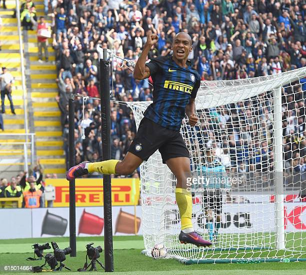 Joao Mario of FC Internazionale celebrates after scoring the goal during the Serie A match between FC Internazionale and Cagliari Calcio at Stadio...