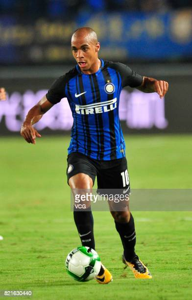 Joao Mario of FC Internazionale drives the ball during the 2017 International Champions Cup match between FC Internazionale and Olympique Lyonnais at...
