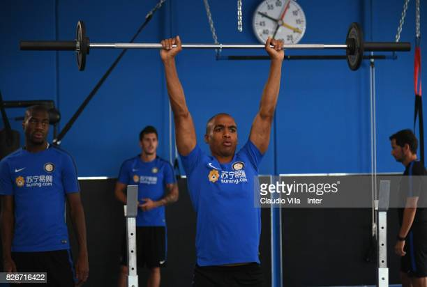 Joao Mario of FC Internazionale in action during a training session at Suning Training Center at Appiano Gentile on August 3 2017 in Como Italy