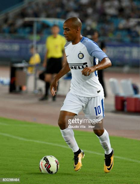Joao Mario of FC Internazionale in action during the preseason friendly match between FC Internazionale and FC Schalke 04 at Olympic Stadium on July...