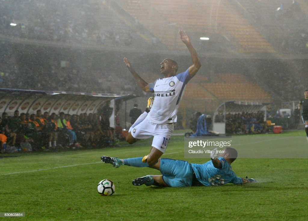 Joao Mario of FC Internazionale in action during the Pre-Season Friendly match between FC Internazionale and Real Betis at Stadio Via del Mare on August 12, 2017 in Lecce, Italy.