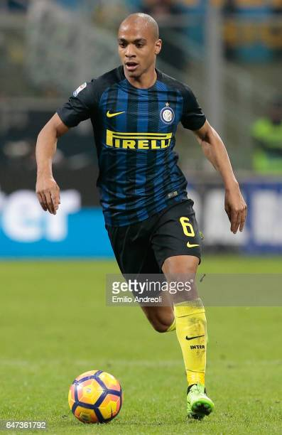 Joao Mario of FC Internazionale Milano in action during the Serie A match between FC Internazionale and AS Roma at Stadio Giuseppe Meazza on February...