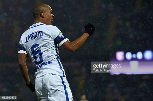 Joao Mario of Inter celebrates after scoring the opening goal during the Serie A match between US Citta di Palermo and FC Internazionale at Stadio...