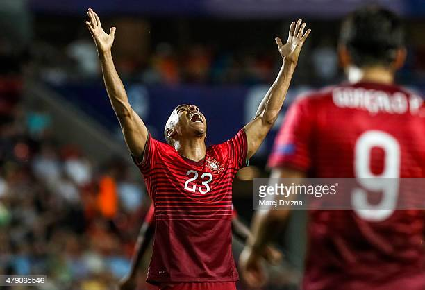 Joao Mario of Portugal reacts during UEFA U21 European Championship final match between Portugal and Sweden at Eden Stadium on June 30 2015 in Prague...