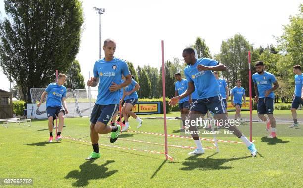 Joao Miranda and Geoffrey Kondogbia of FC Internazionale train during the FC Internazionale training session at the club's training ground Suning...