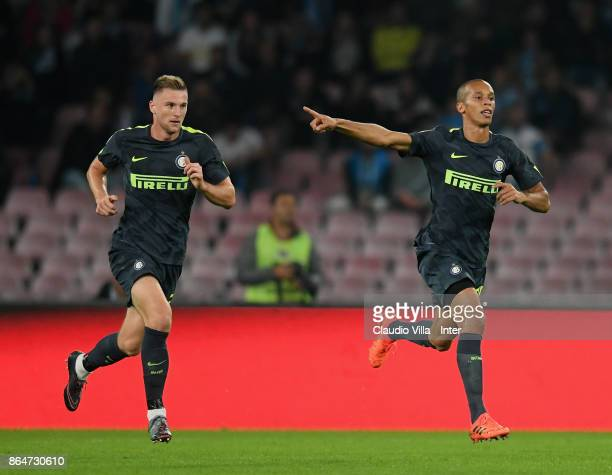 Joao Miranda de Souza Filho and Milan Skriniar of FC Internazionale react during the Serie A match between SSC Napoli and FC Internazionale at Stadio...