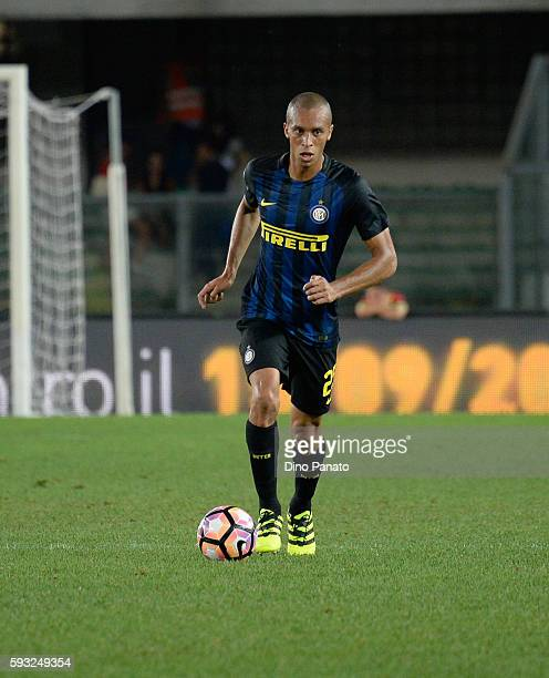 Joao Miranda de Souza Filho of FC Internazionale in action during the Serie A match between AC ChievoVerona and FC Internazionale at Stadio...