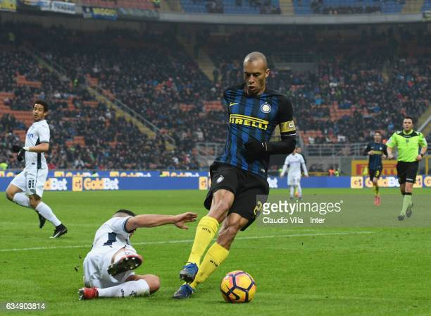 Joao Miranda de Souza Filho of FC Internazionale in action during the Serie A match between FC Internazionale and Empoli FC at Stadio Giuseppe Meazza...